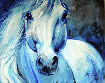 Abstract Equine Art Painting - Grey Ghost Equine by Marcia Baldwin