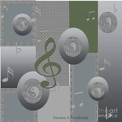 Digital Art - Grey Green And by Rizwana Mundewadi