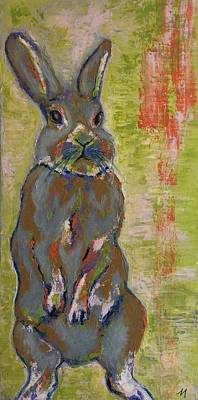 Whimsical Painting - Grey Hare  by Mary Papageorgiou