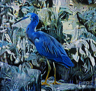 Breed Digital Art - Grey Heron Abstract by Trudee Hunter