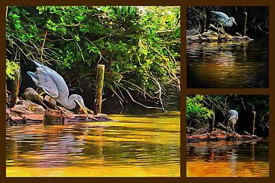 Digital Art - Grey Heron Collage by Dorothy Berry-Lound