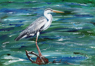 Grey Heron Of Cornwall -painting Art Print by Veronica Rickard