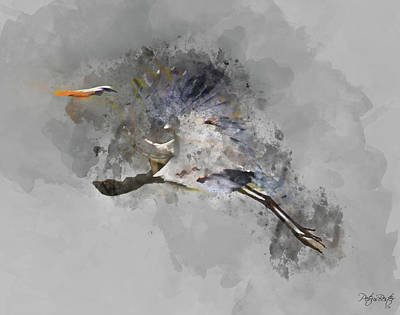 Digital Art - Grey Heron by Petrus Bester