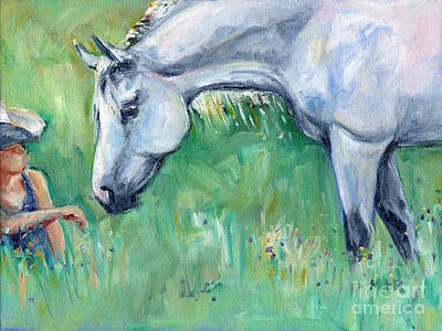 Grey Horse And Cowgirl Print by Maria's Watercolor