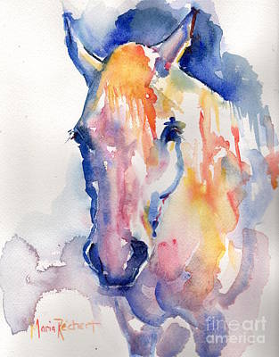 White Horse Watercolor Painting - Grey Horse Watercolor Be Uncommon by Maria's Watercolor