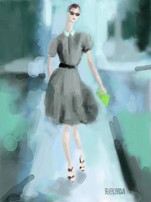 Painting - Grey Jason Wu Grey Dress Fashion Illustration by Beverly Brown