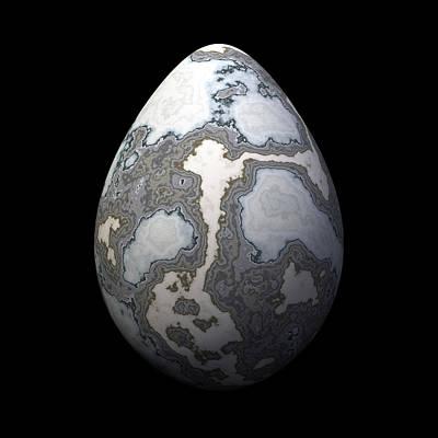Algorithmic Digital Art - Grey Marble Egg by Hakon Soreide