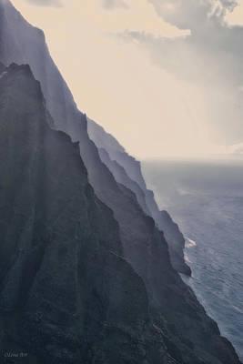Photograph - Grey Mountains Na Pali Coast by OLena Art Brand