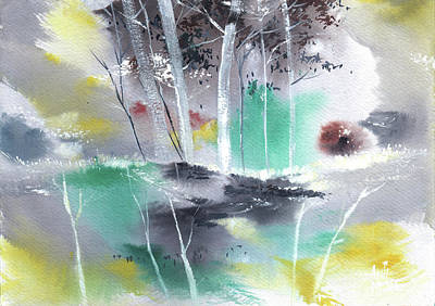 Painting - Grey N Colorful by Anil Nene