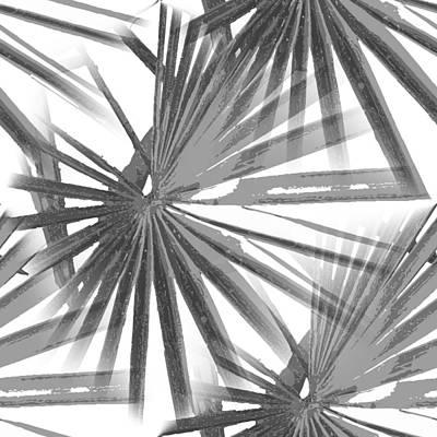 Digital Art - Grey On White Tropical Vibes  Beach Palmtree Vector by Tracey Harrington-Simpson