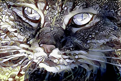 Digital Art - Grey Persian Cat Abstract Art by Peggy Collins