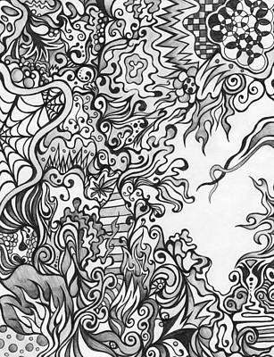 Spider Drawing - Grey Scale Abstract by Mandy Shupp