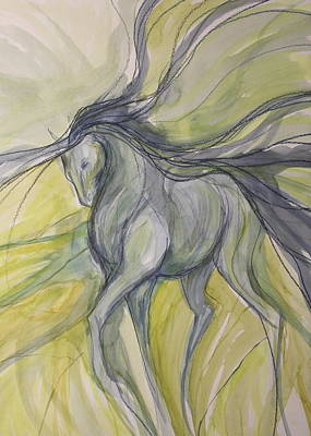 Sporthorse Mixed Media - Grey Shoulder In by Jennifer Fosgate