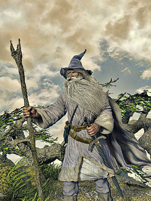 Digital Art - Grey Wizard II by Dave Luebbert