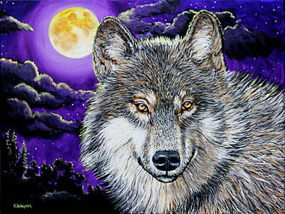 Painting - Grey Wolf And Full Moon by Karl Wagner