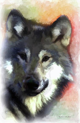 Digital Art - Grey Wolf by Barbara A Lane