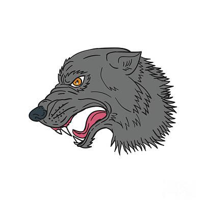 Grey Wolf Head Growling Drawing Art Print