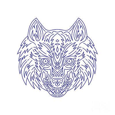 Canines Digital Art - Grey Wolf Head Mono Line by Aloysius Patrimonio