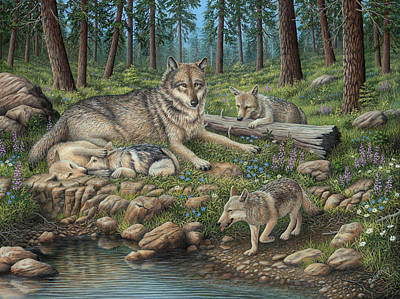 Wolf Pup Painting - Grey Wolf Mother And Pups by Robert Wavra