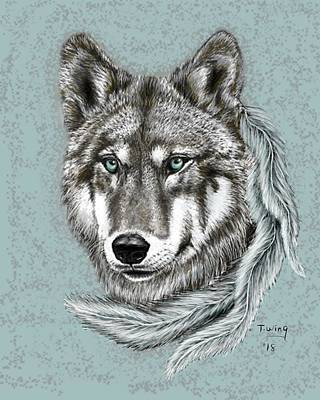 Digital Art - Grey Wolf by Teresa Wing