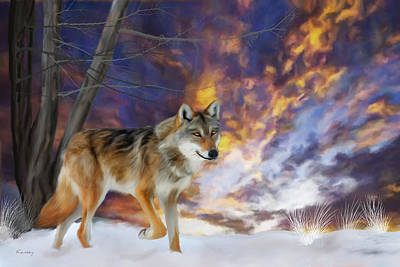 Painting - Grey Wolf Winter by Johanne Dauphinais