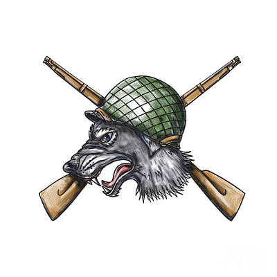 Canine Digital Art - Grey Wolf Ww2 Helmet Crossed Rifles Tattoo by Aloysius Patrimonio