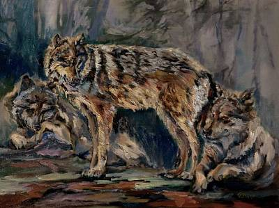 Painting - Grey Wolves by Grace Diehl