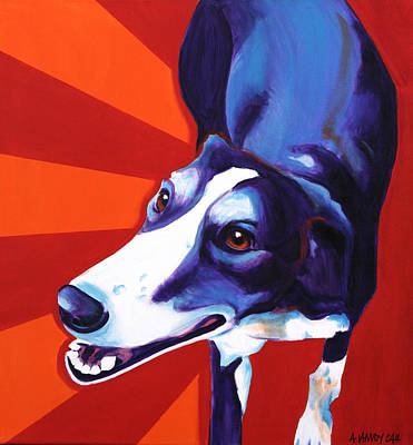 Rescued Greyhound Painting - Lurcher - Evie by Alicia VanNoy Call