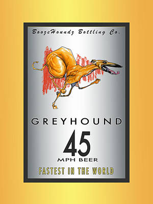 Food And Beverage Drawings - Greyhound 45 MPH Beer by John LaFree