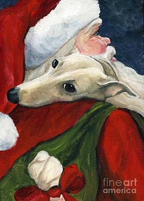 Puppy Painting - Greyhound And Santa by Charlotte Yealey