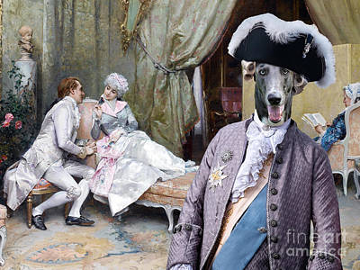 Painting - Greyhound Art Canvas Print - The Flirting by Sandra Sij
