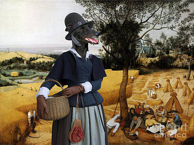 Painting - Greyhound Art Canvas Print - The Harvesters by Sandra Sij