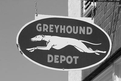 Photograph - Greyhound Bus Depot Sign Bw by Joseph C Hinson Photography