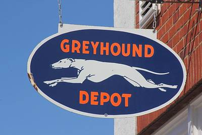 Photograph - Greyhound Bus Depot Sign In Color by Joseph C Hinson Photography