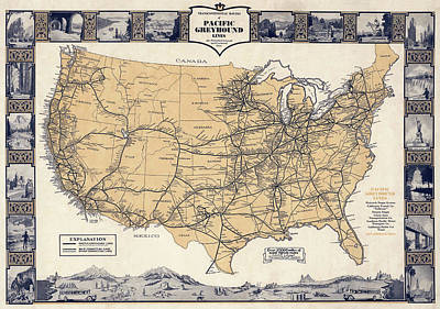 Greyhound Bus Route Map C. 1932 Art Print by Daniel Hagerman