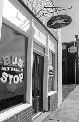 Photograph - Greyhound Bus Stop Bw by Joseph C Hinson Photography