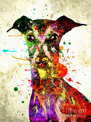 Watercolor Pet Portraits Mixed Media - Greyhound Colored by Daniel Janda