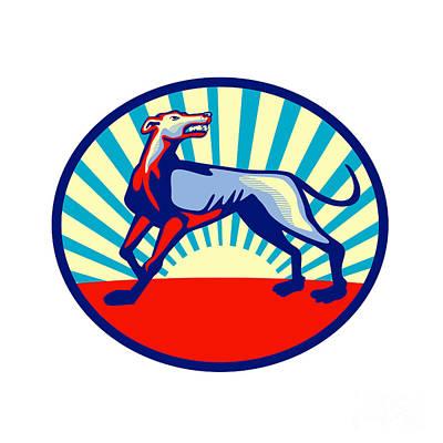 Greyhound Dog Angry Looking Up Circle Retro Art Print