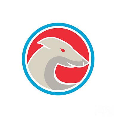Dog Head Digital Art - Greyhound Dog Head Side Circle Retro by Aloysius Patrimonio