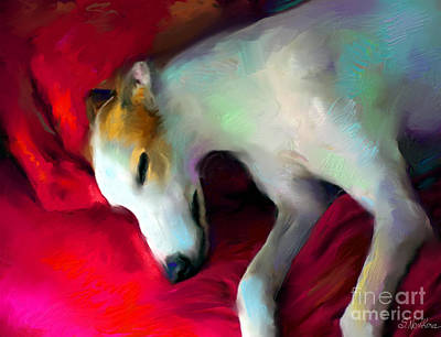 Sleeping Dog Digital Art - Greyhound Dog Portrait  by Svetlana Novikova