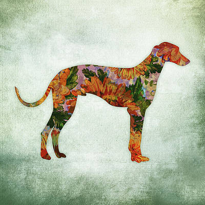Watercolor Pet Portraits Digital Art - Greyhound Floral On Green by Flo Karp