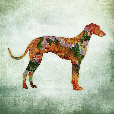 Watercolor Pet Portraits Wall Art - Digital Art - Greyhound Floral On Green by Flo Karp