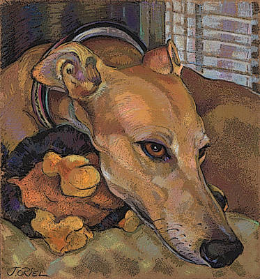 Greyhound Mixed Media - Greyhound Grace Note Card by Jane Oriel