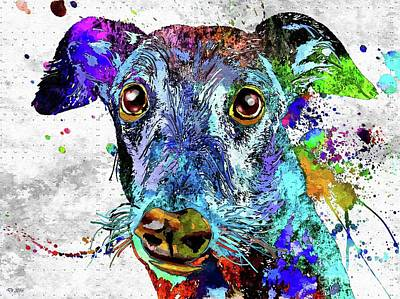Watercolor Pet Portraits Mixed Media - Greyhound Grunge by Daniel Janda