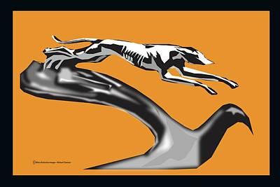 Digital Art - Greyhound Car Hood Ornament by Michael Chatman