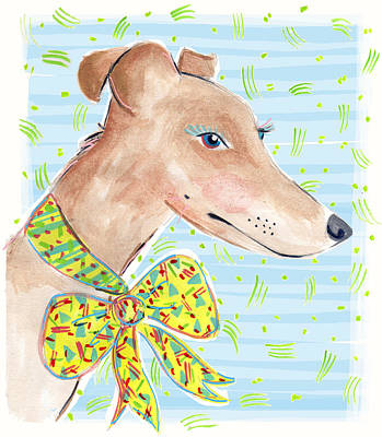 Puppies Drawing - Greyhound by Jo Chambers