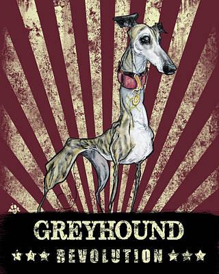 Drawing - Greyhound Revolution by John LaFree