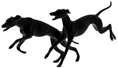 Graphics Photograph - Greyhounds Travelling At 45 Mph by Christine Till