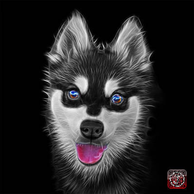 Painting - Greyscale Alaskan Klee Kai - 6029 -bb by James Ahn