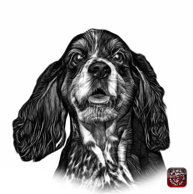 Mixed Media - Greyscale Cocker Spaniel Pop Art - 8249 - Wb by James Ahn